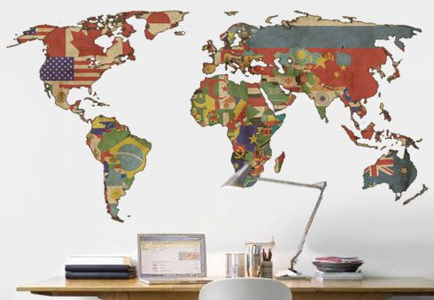 Product details modern design for interiors size overall world map decal vintage flags world map wall por decoryourwall gumiabroncs Image collections