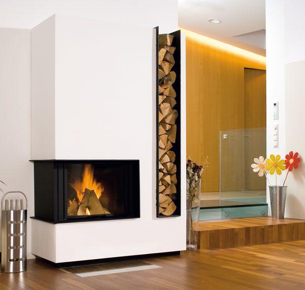 chemin e en ma onnerie blanche et acier noir foyer ruegg jade au chaud dans la maison. Black Bedroom Furniture Sets. Home Design Ideas