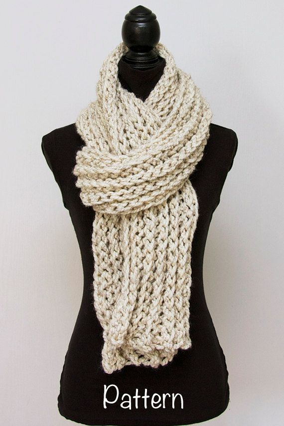 Chunky Crochet Scarf PATTERN, Long Womens Scarf, Easy Crochet ...