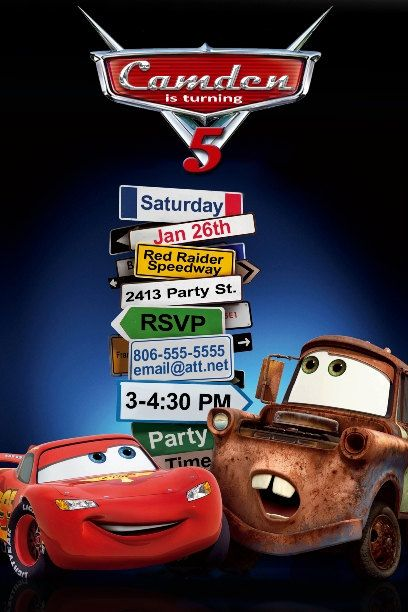 Disney Cars Birthday Invitation 1000 via Etsy