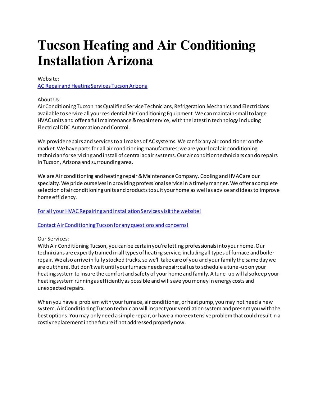 Air Conditioing Tucson By Harry Cambell Via Slideshare Air
