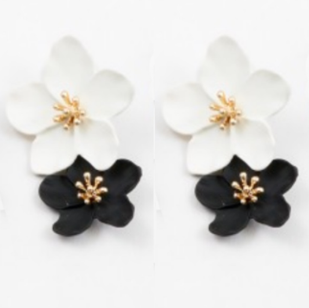 Fiona Black And White Blossom Earrings Whimsical Fashion Fashion