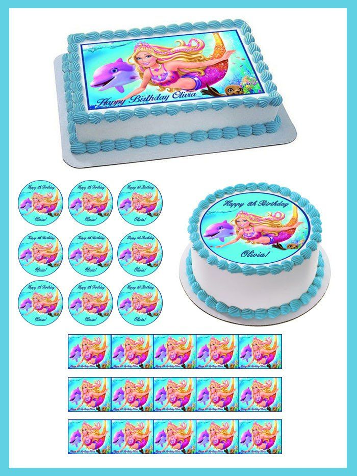 Phenomenal Barbie Mermaid Edible Birthday Cake Topper Or Cupcake Topper Personalised Birthday Cards Arneslily Jamesorg