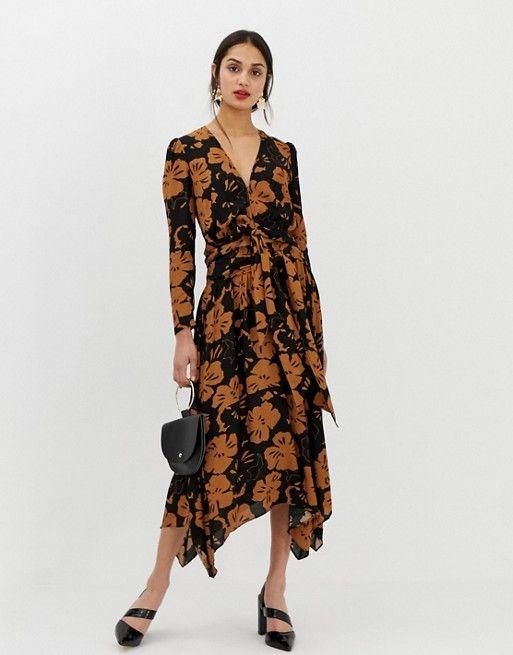834ca776627 Whistles Limited Ari midi skirt in hibiscus print