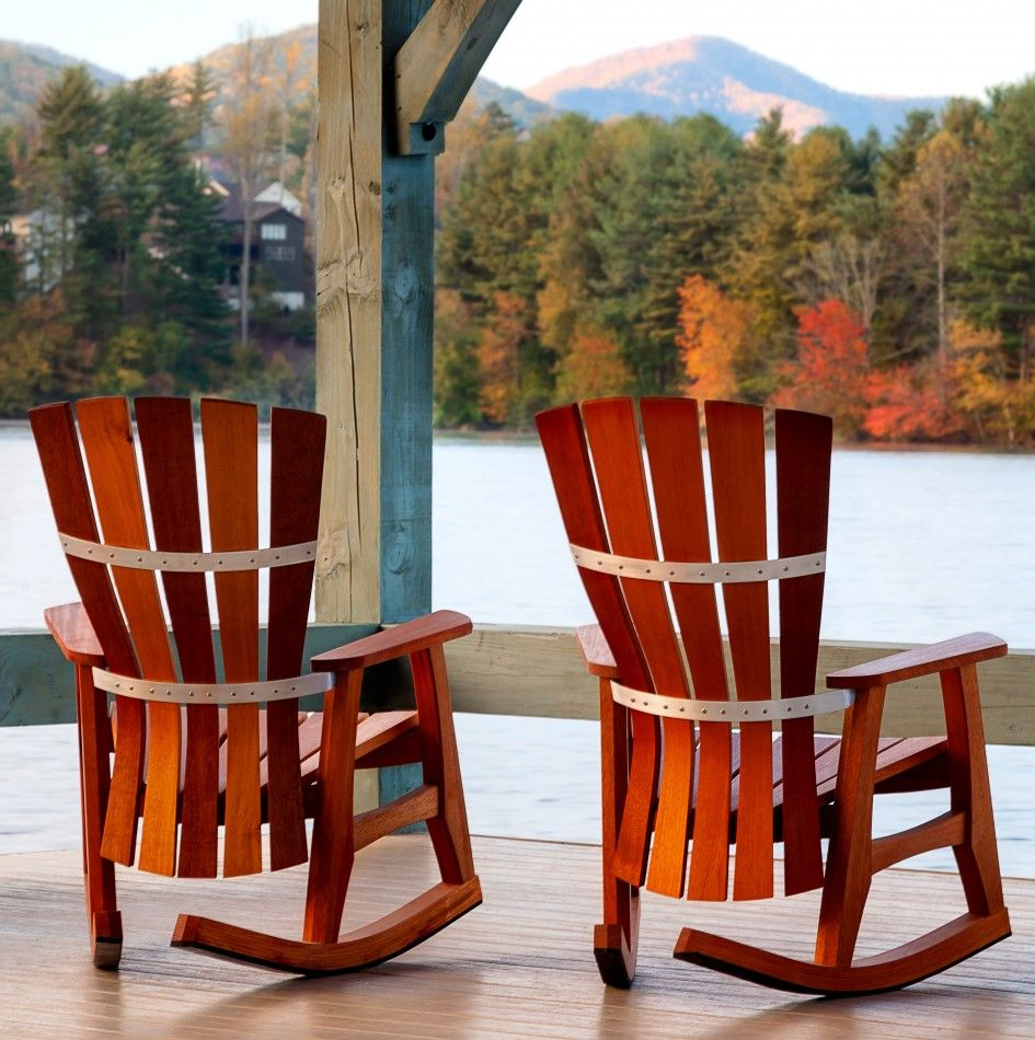 Patio outdoor best patio rocking chairs 2 set sunniva wood patio furniture cherry finish maple wood construction contoured seat curved back all weather