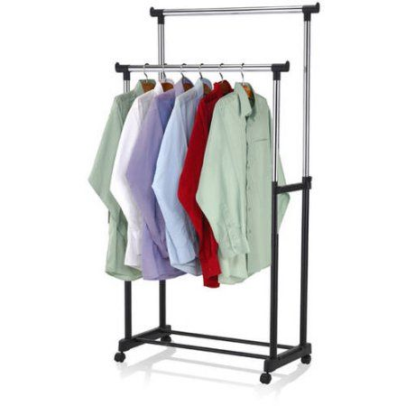 Walmart Clothes Hanger Rack Custom Sunbeam Chromeplated Steel Double Garment Rack Black  Garment Review