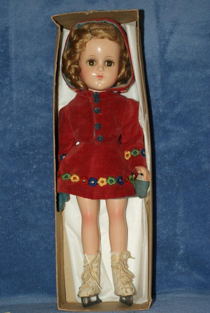 Very Nice Vintage Arranbee Nancy Lee Ice Skater Composition Doll In Original Box