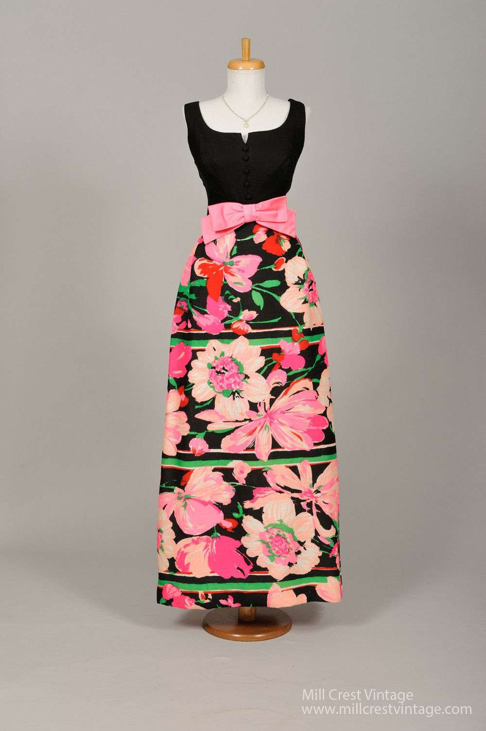 1960 Tropical Floral Linen Vintage Evening Gown | fashion ...