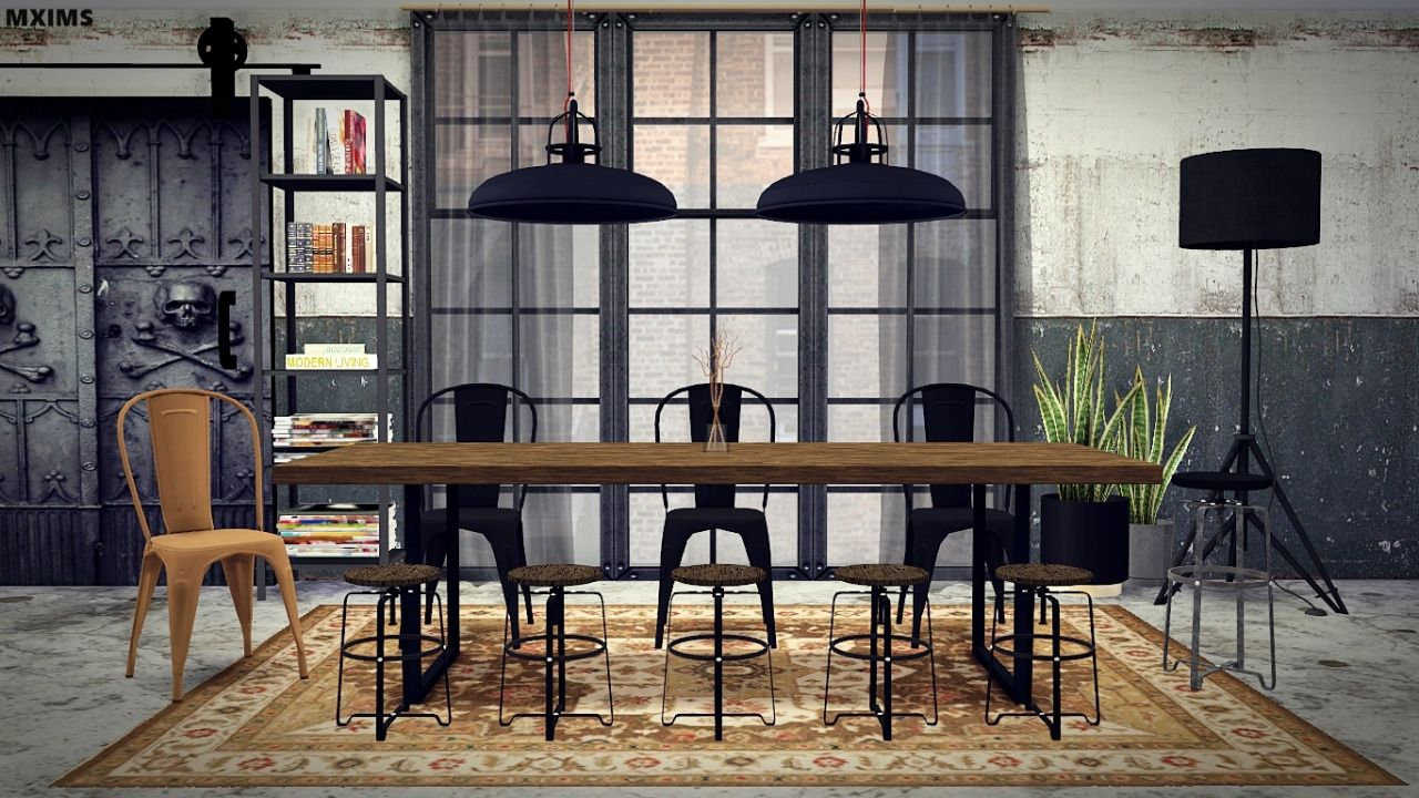 Mxims industrial dining room by request dining chair for Dining room ideas sims 4