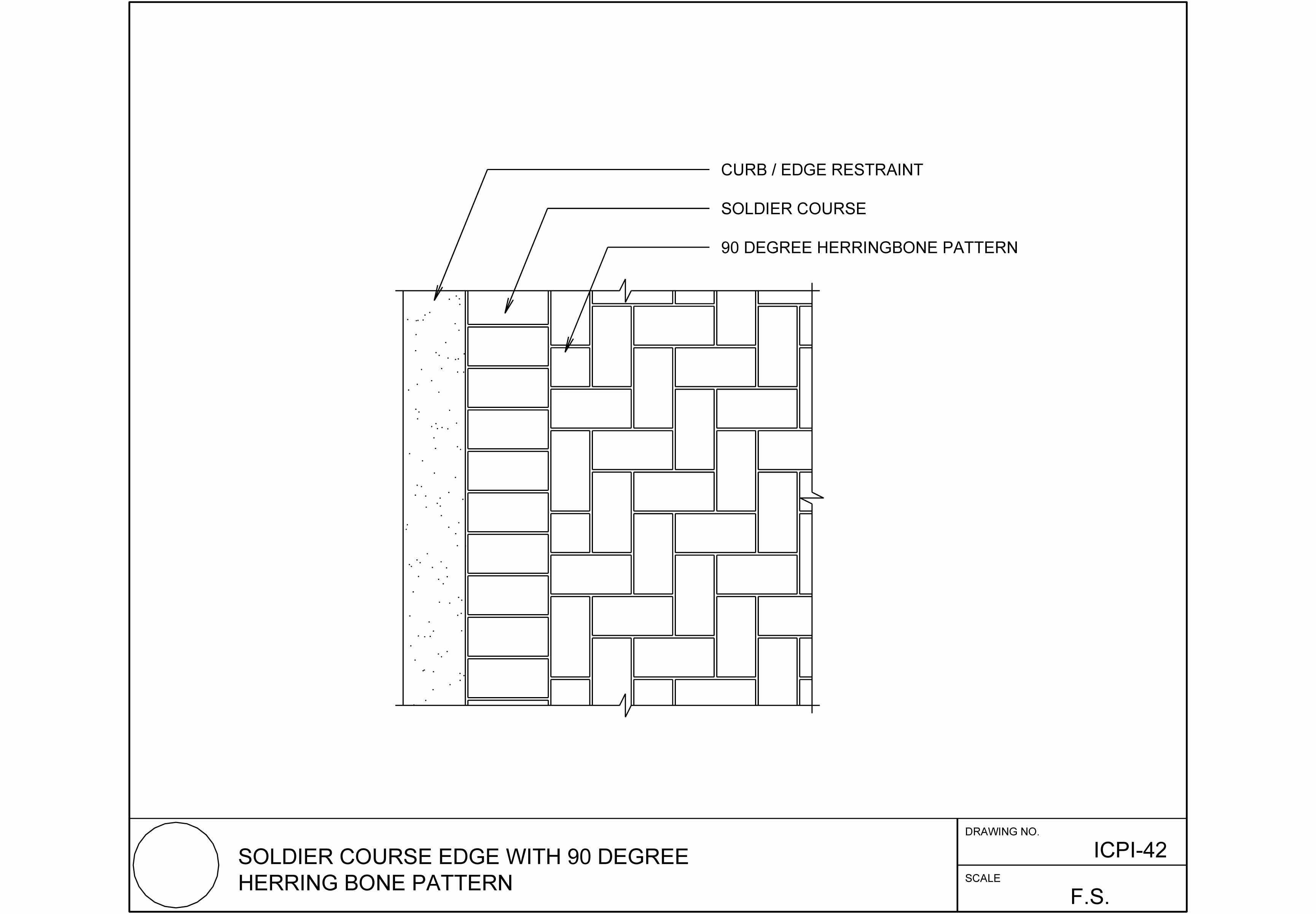 Soldier Course Edge With 90 Degree Herringbone Pattern Paver