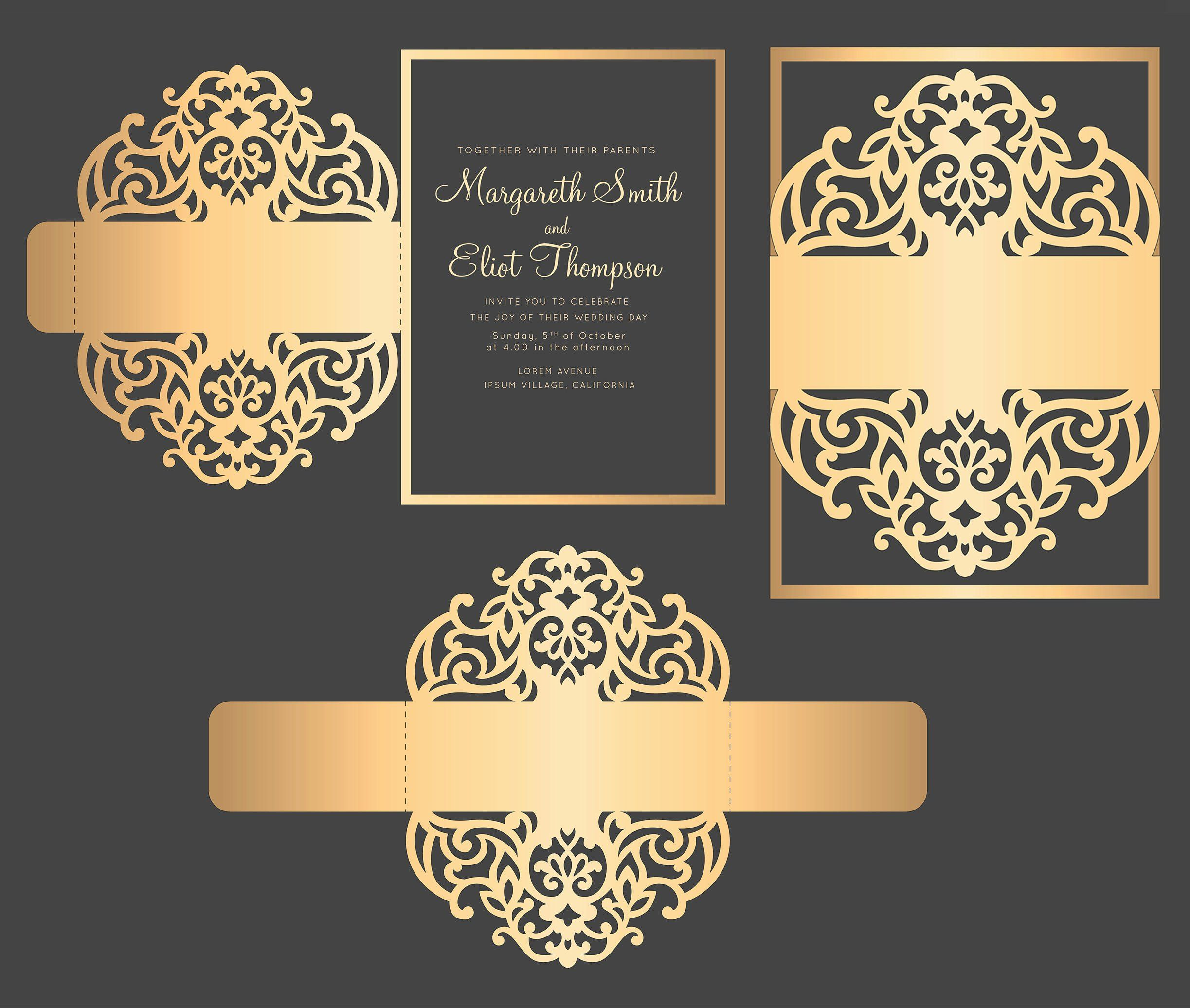 Wedding Invitation Belly Band Template Luxury Svg Dxf Eps