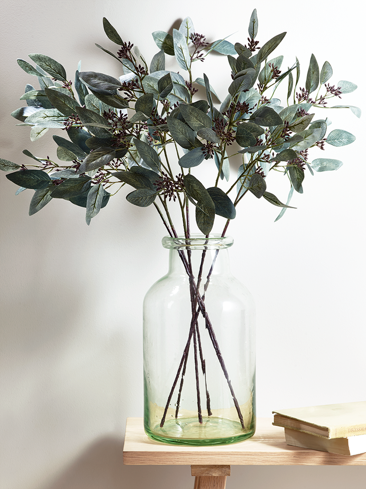 New Six Faux Seeded Eucalyptus Stems In 2020 Faux Plants Decor Artificial Plants Decor Flower Vase Arrangements