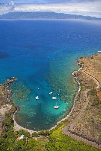 Aerial of Honolua Bay near Kapalua, Maui, Hawaii