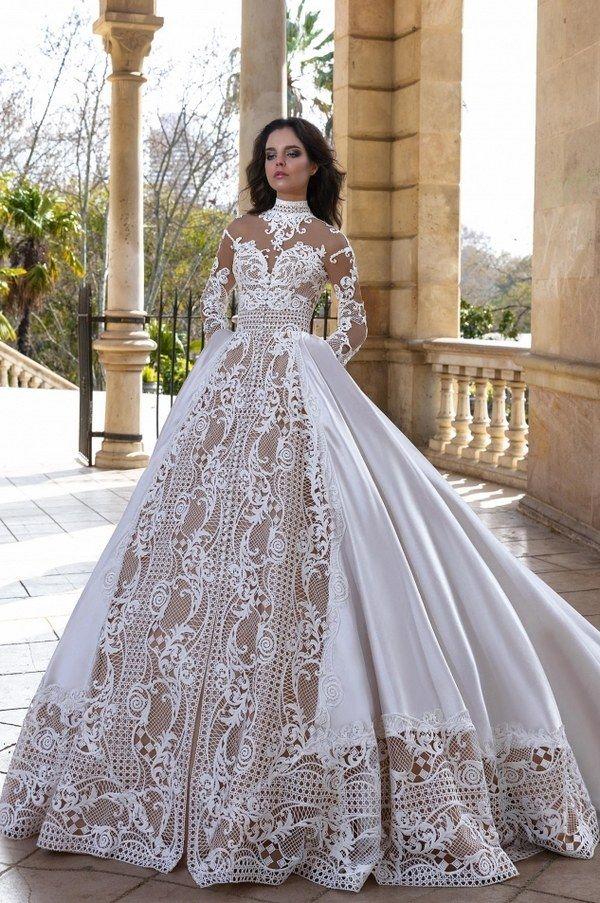 alikant vintage ball gown long sleeves wedding dress via crystal desing