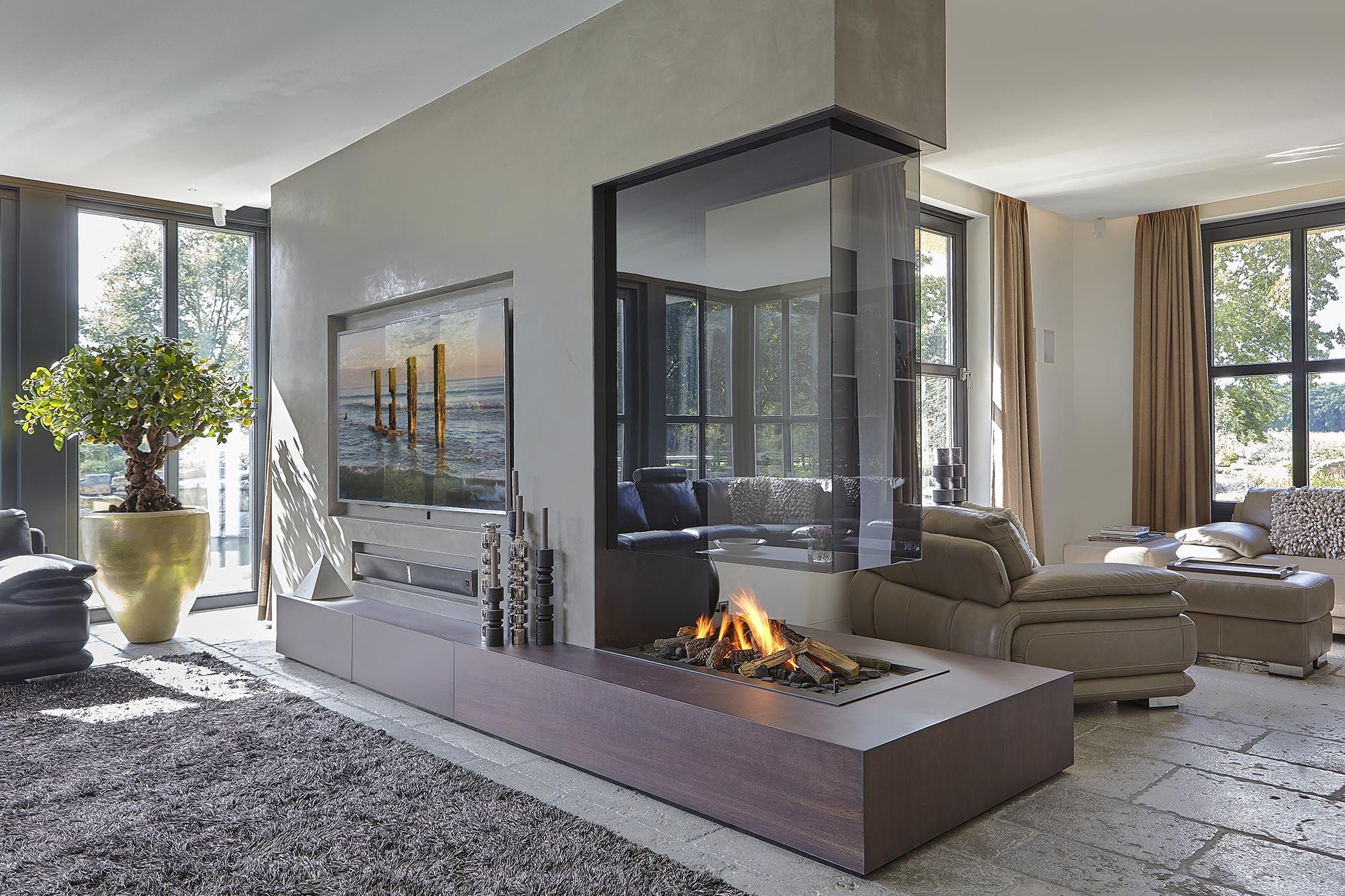 3-Sided Glass Hanging Fireplace | Contemporary fireplace, Side fireplace,  Fireplace design