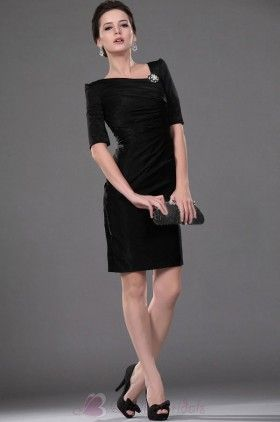 Sheath/Column Black Pleated Short Sleeves Short-length  M1137