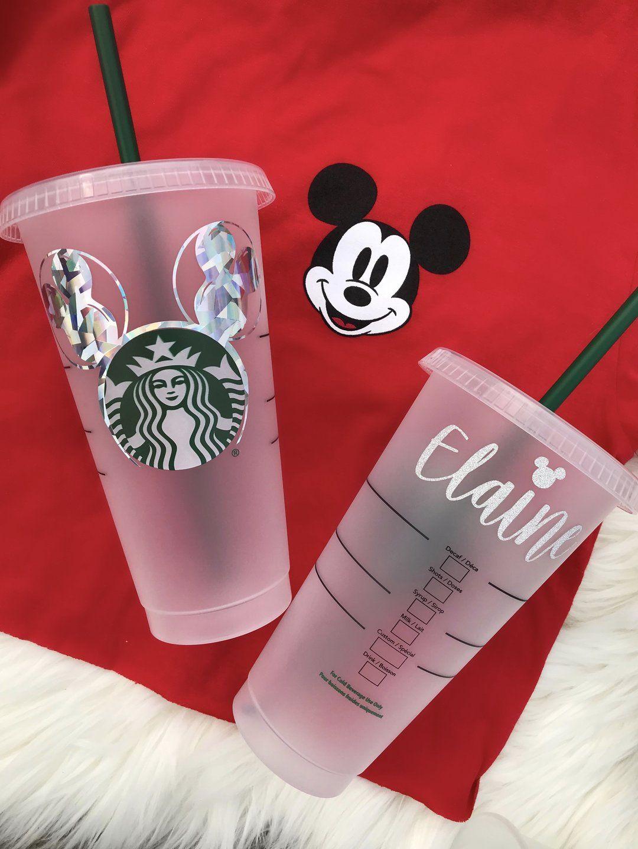 Mickey Balloon Ears Inspired Starbucks Cold Cups Walt Disney World California Adventure Park Disney Personalized Starbucks Cup Starbucks Starbucks Cup Art