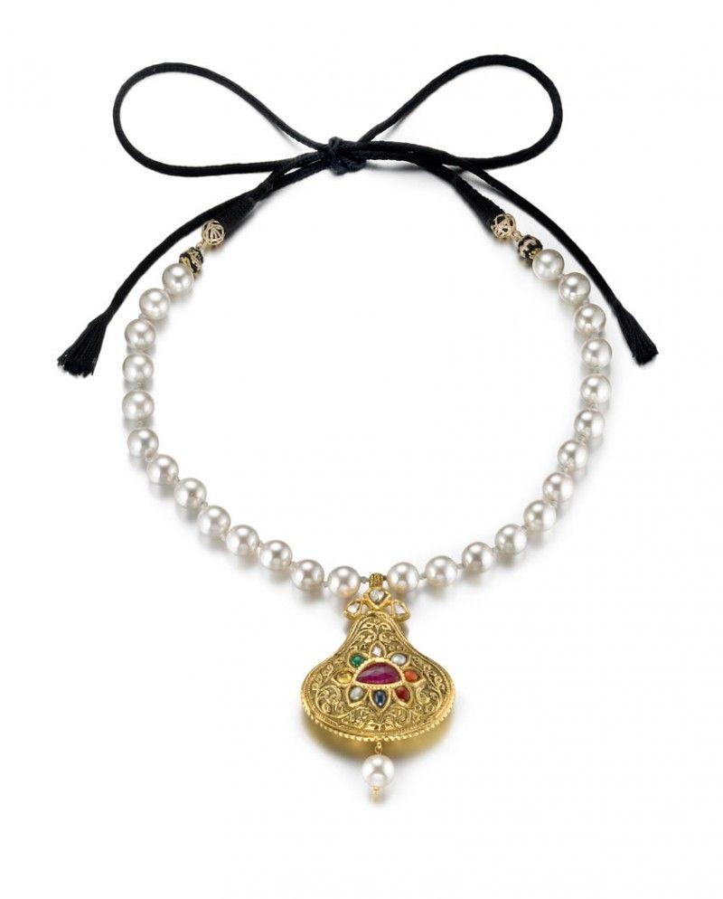 Navratan gemstone u faux pearl necklace with silk tie jewelry