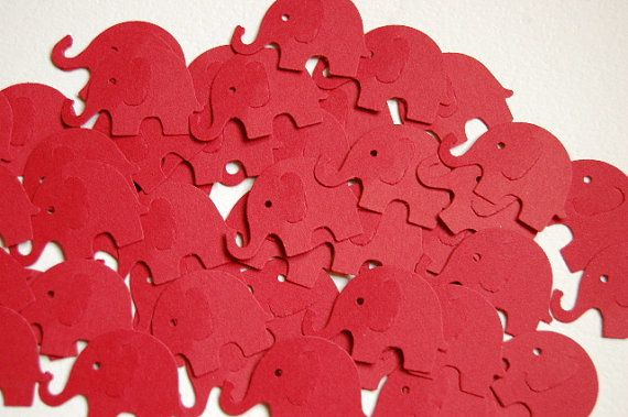 Red Elephant Punch Cut Outs Confetti  Set of by PaperCreations123