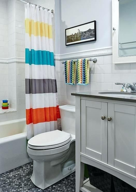 Curtain Tie Backs Placement Kids Bathroom With Striped Shower ...