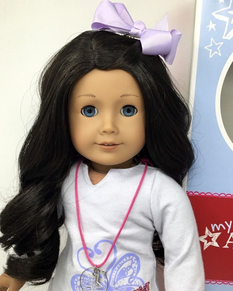 American Girl Doll Brown Black Hair W Blue Eyes And Ag Outfit
