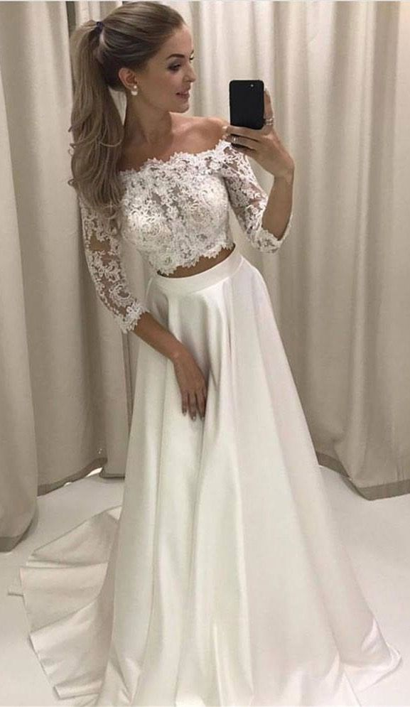 663d0499a765 Two Piece Off-the-Shoulder 3 4 Sleeves White Prom Dress With Lace