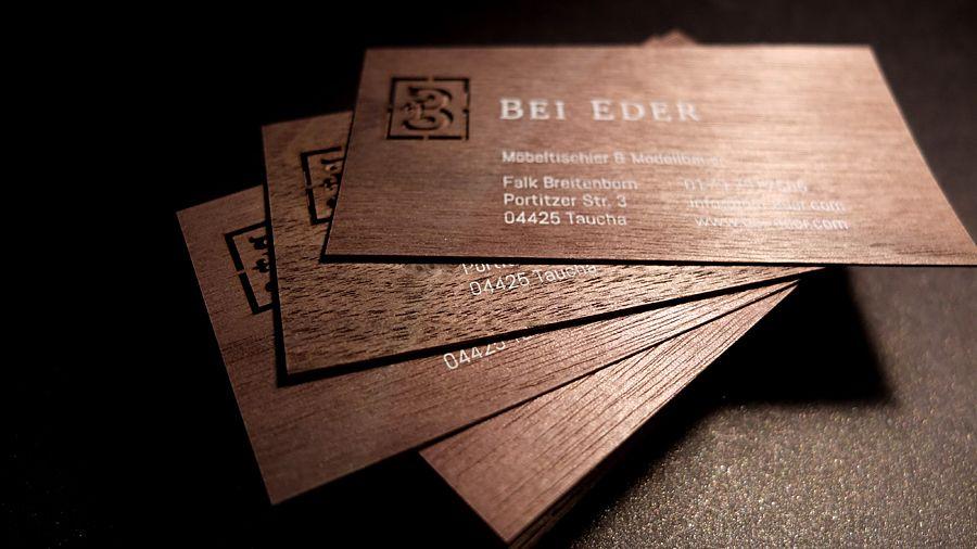 Visitenkarte Aus Nussbaum Echtholzfurnier Mit Einem