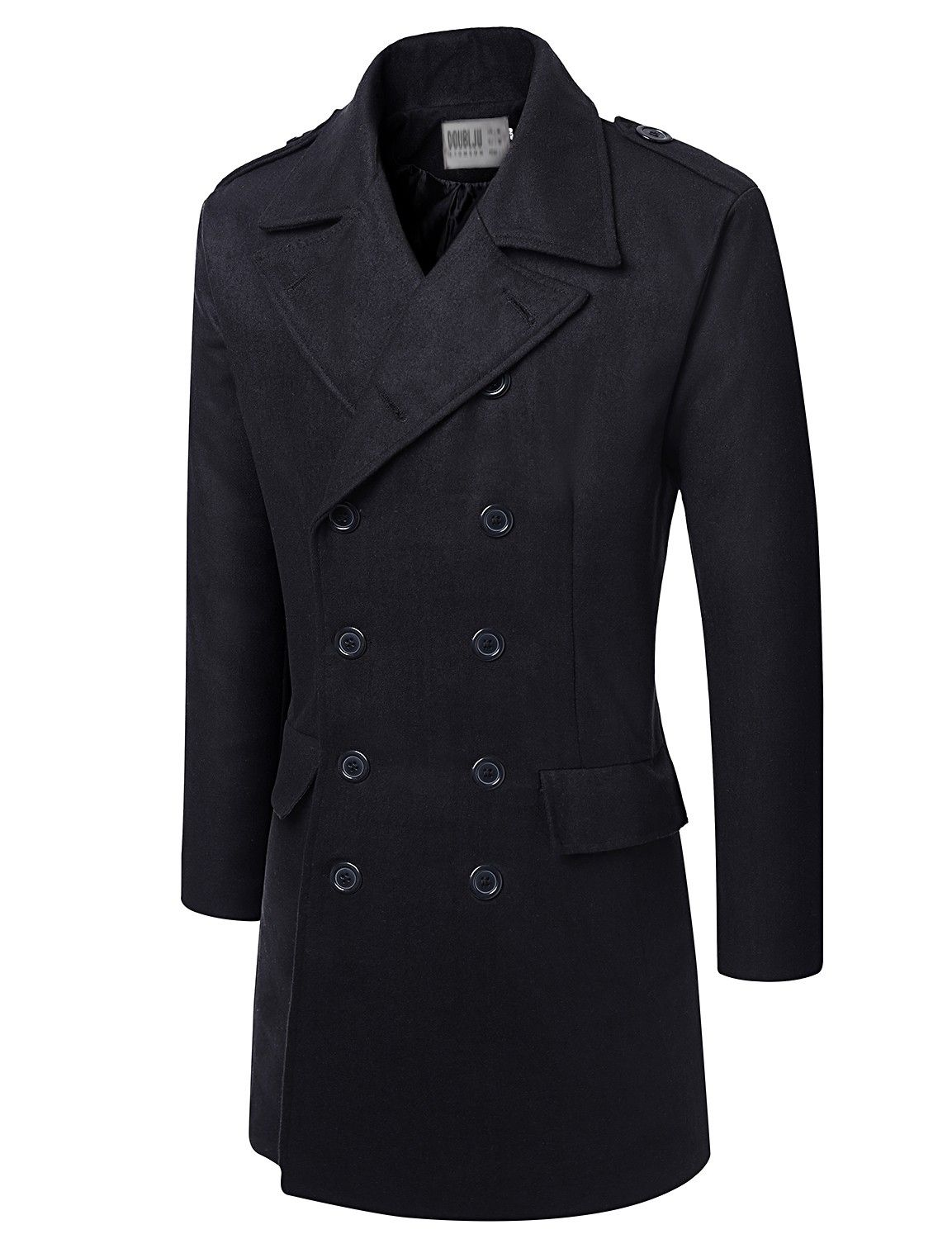 Mens Casual Wool Long Coat with Double Button #doublju