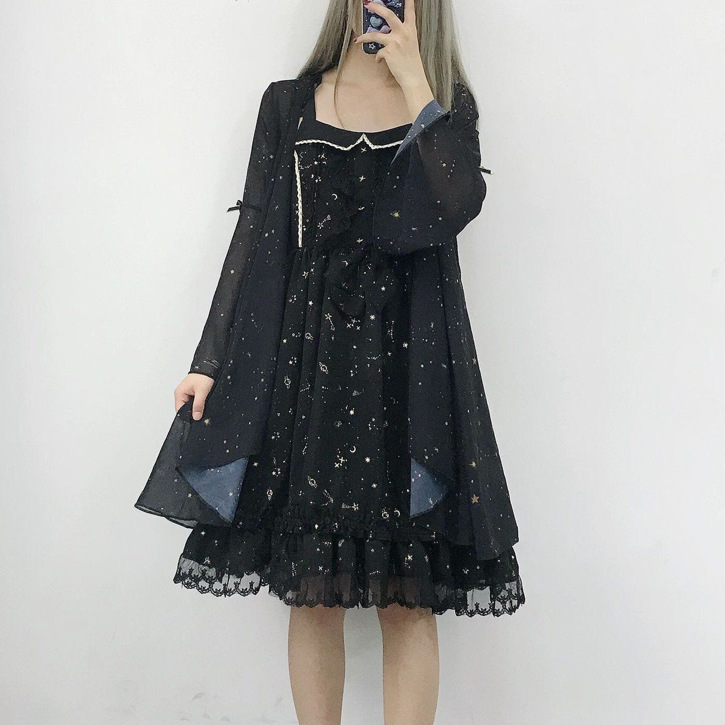 42e6bde116fd White/Black/Wine Fairy Star Chiffon Coat S12740   wishlist   Chiffon ...