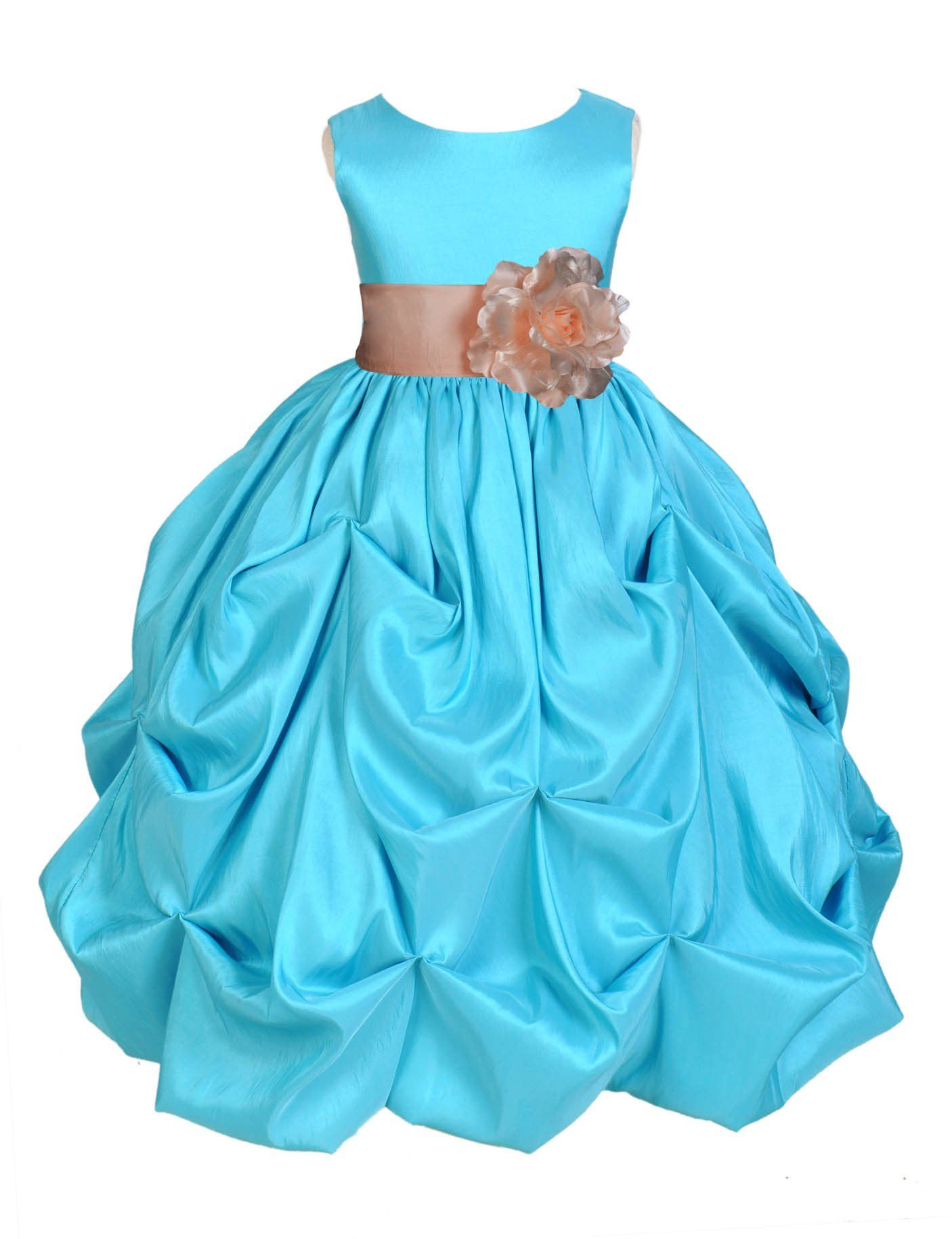 Pool blue bubble taffeta formal bridesmaid beauty pageant special