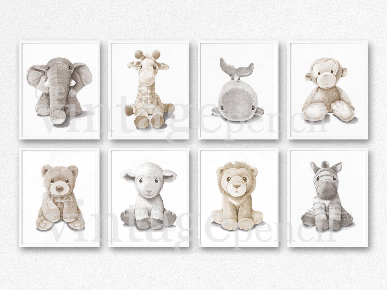 Kids Art Set Baby Animal Prints Neutral