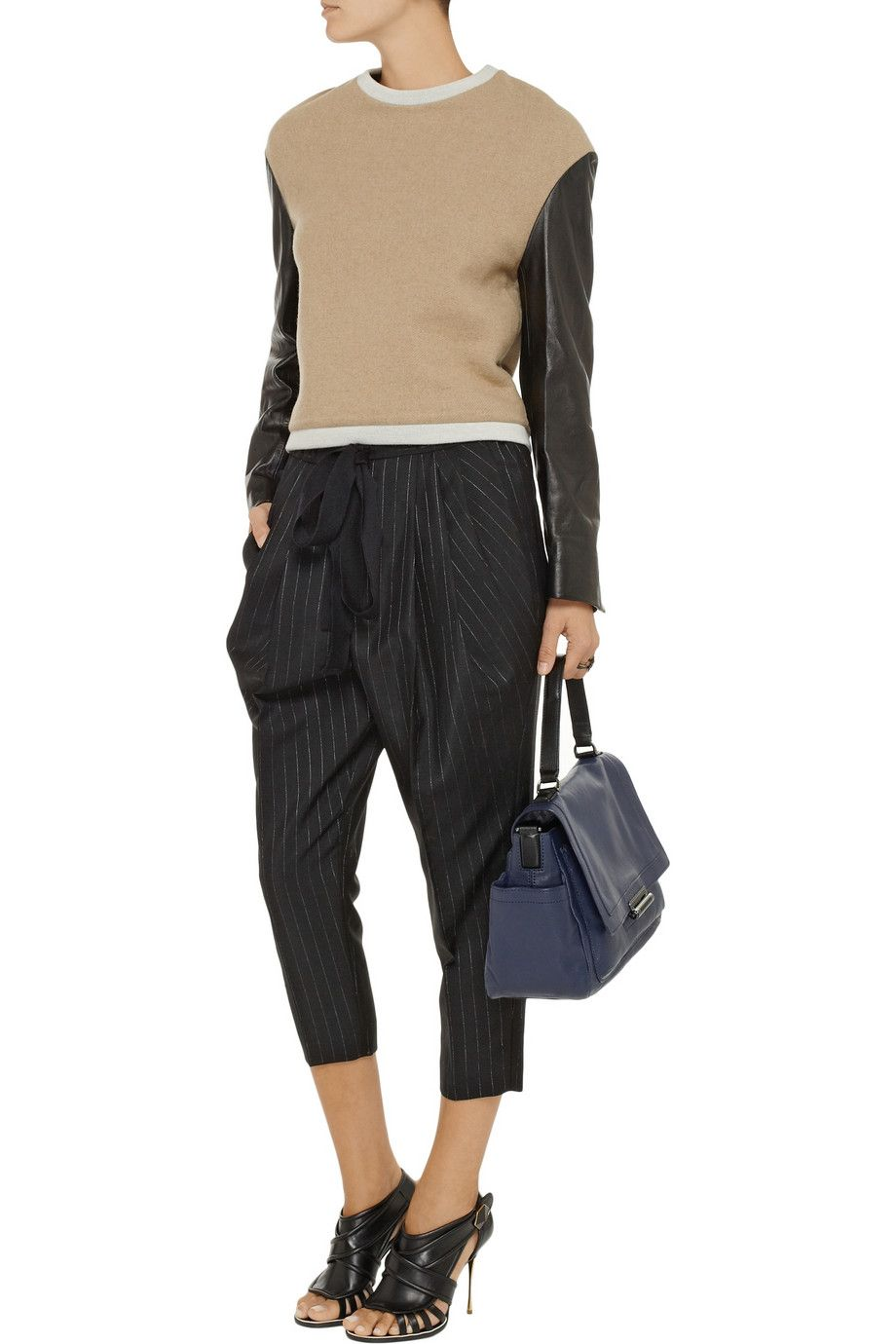 Love this look - 3.1 Phillip Lim Leather-sleeved wool-blend sweater