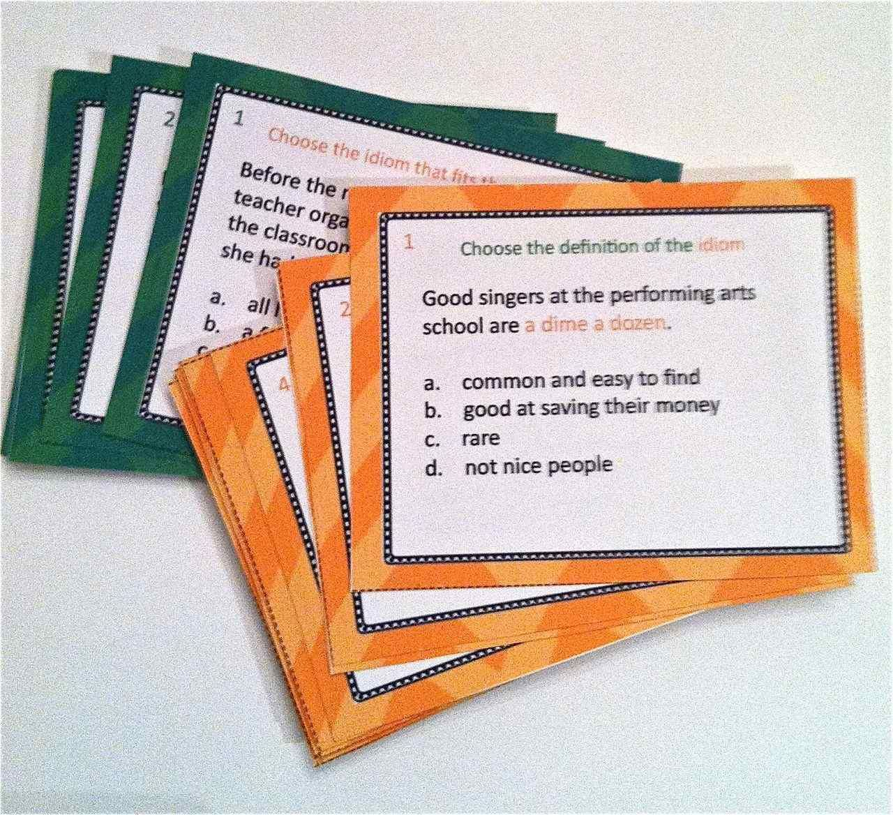 Idiom Task Cards And Worksheets With Images