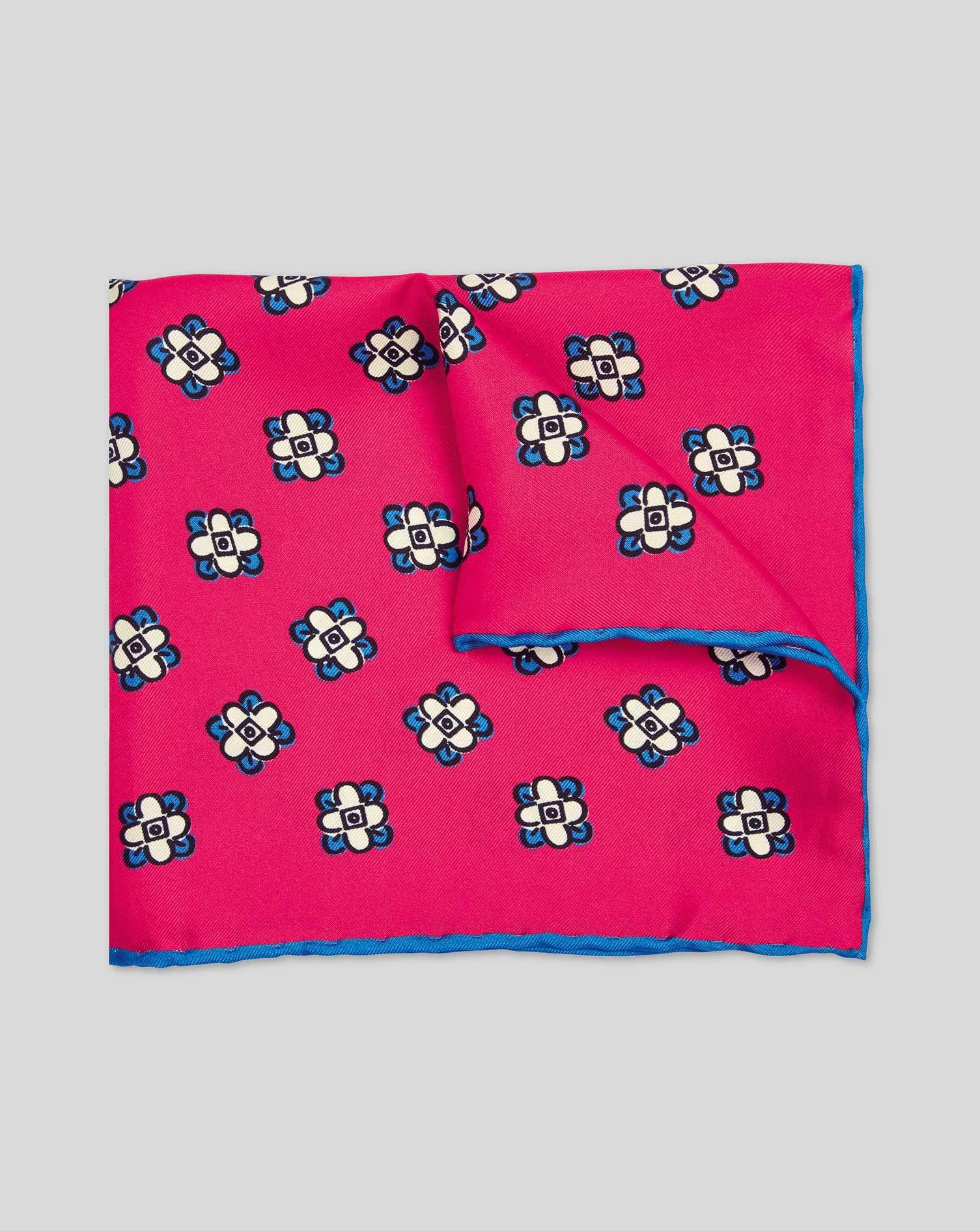 Floral Geometric Print Pocket Square - Bright Pink