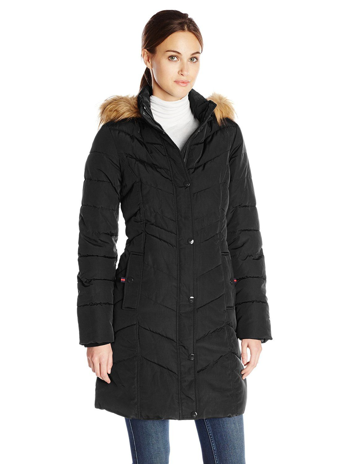 Tommy Hilfiger Women S Long Chevron Quilted Down Coat