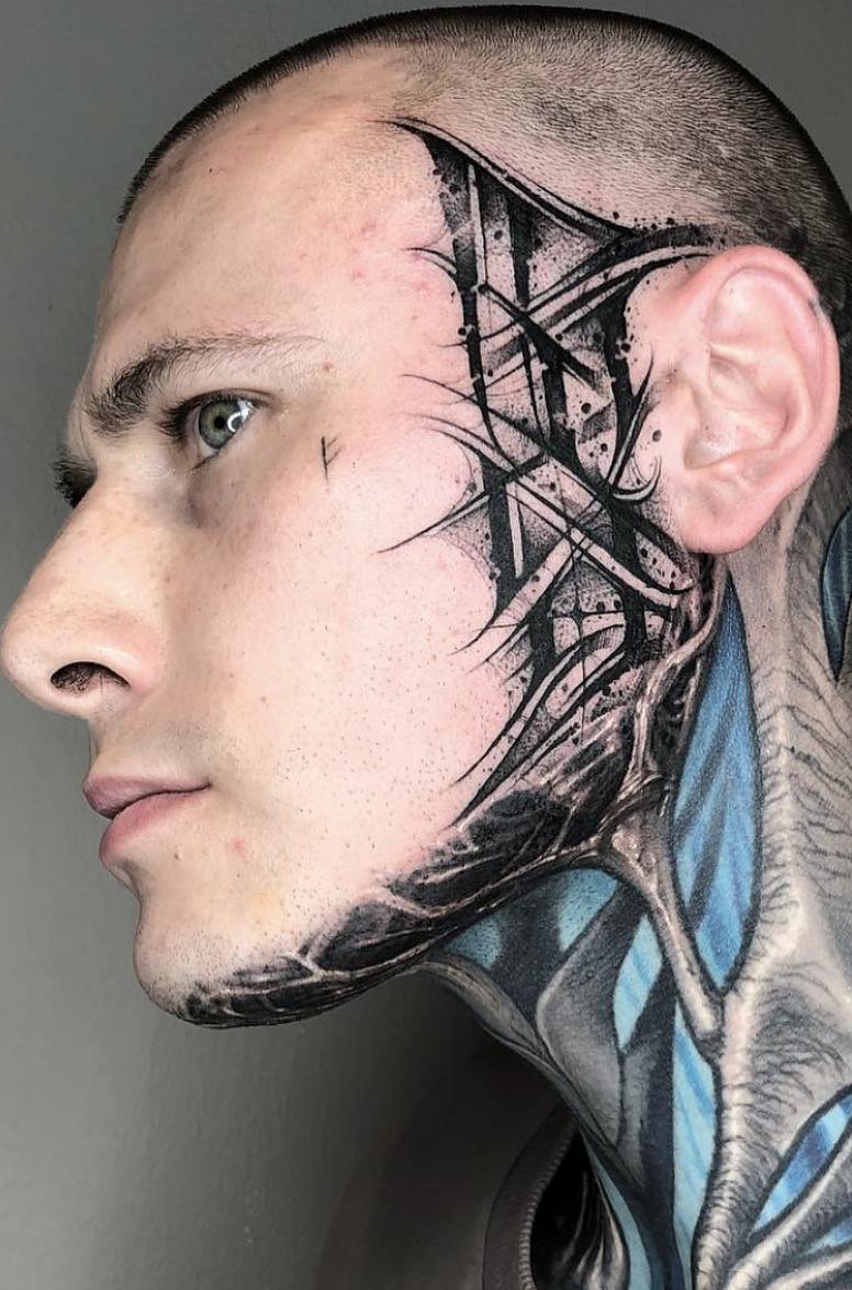 Crazy face tattoo by Gromov666. Tattoowierungen, Tattoo