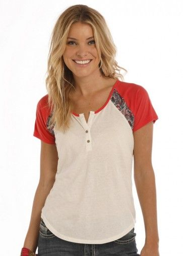 8ff2260d ... western wear styles! Rock & Roll Cowgirl® Juniors' S/S  Cream/Red/Paisley Henley with Crochet Back Inset Style: 49T1150