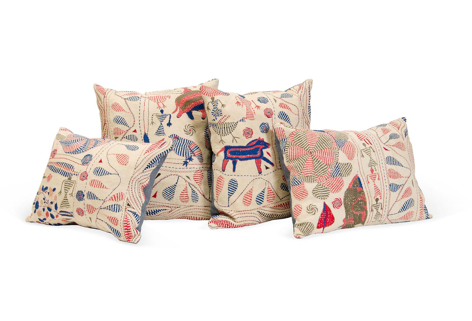 Vintage Kantha Quilt Pillows