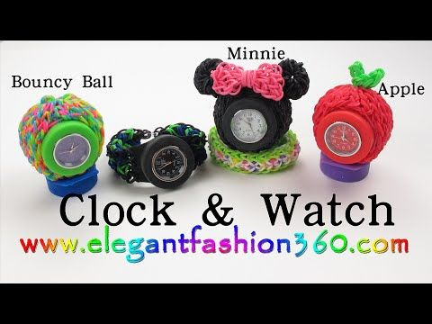 Rainbow Loom - CLOCK/WATCH (LT). Designed and loomed by ElegantFashion360. Click photo for YouTube tutorial. 09/19/14.