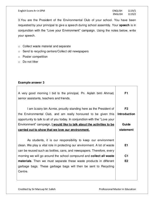 english essay report format spm