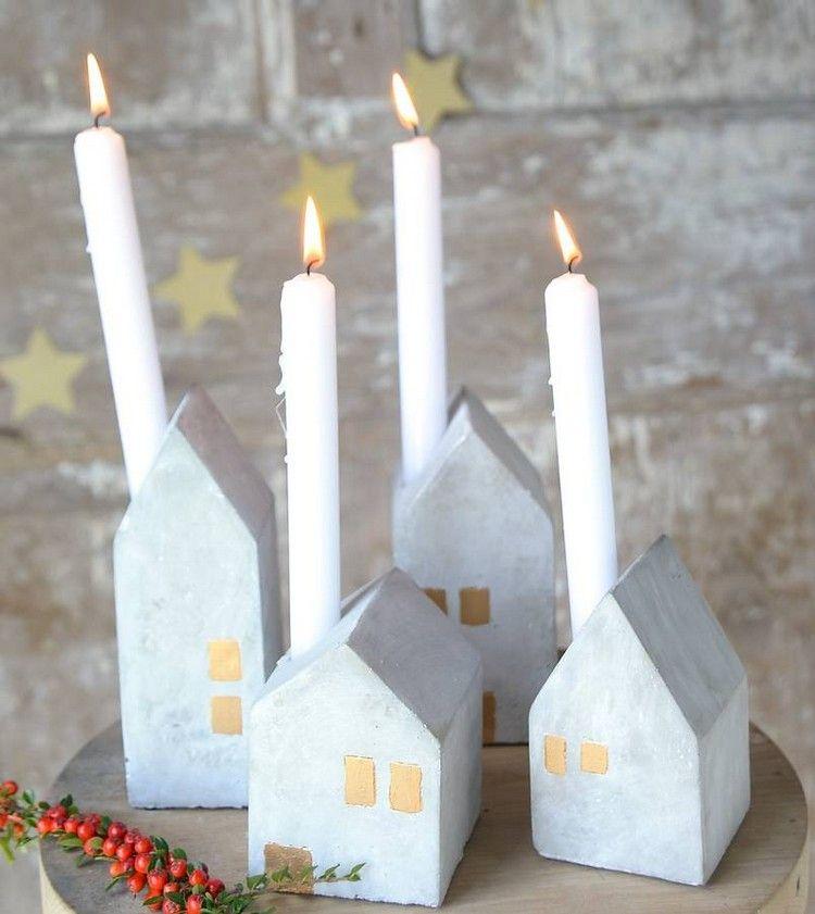 Adventskranz Beton Modern Kleine Häuser Kerzenhalter Weiße Kerzen