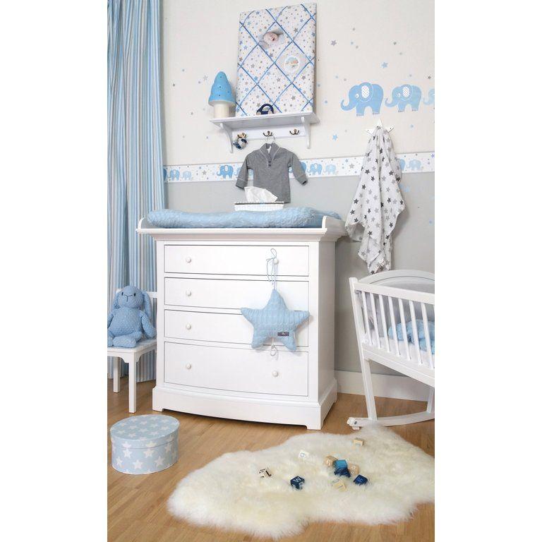 Kinderzimmer Bordüre Elefanten blau/grau, selbstklebend