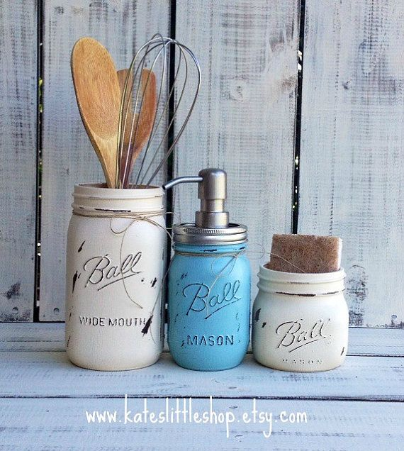 Mason Jar Kitchen Decor Set: Set Of 3 Mason Jar Kitchen Set. Painted Mason Jars. Rustic