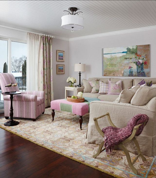 Living Room With Feminine Decor. Designed By Cottage Company Interiors.