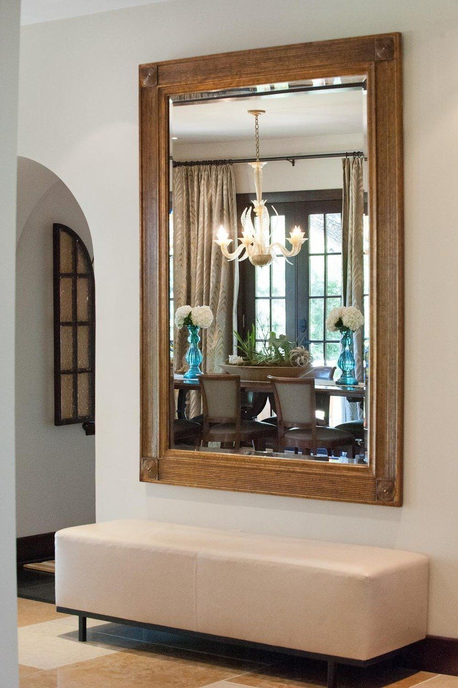 Foyer Mirrors : At home with kendra scott bench foyers and giant mirror