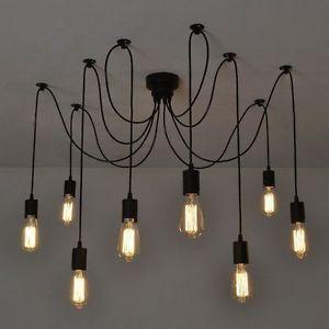 8 Lichte retro Industrie Hängelampe Klassisch Pendelleucht
