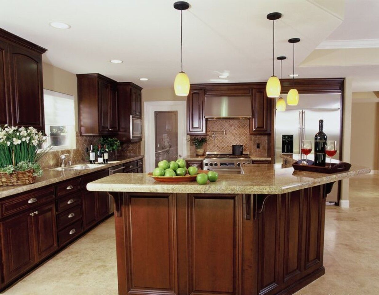 New Trend Yellow Pendant Lamps In Kitchen Design Feat L Shaped Pleasing Dark Wood Cabinets Kitchen Design Design Decoration
