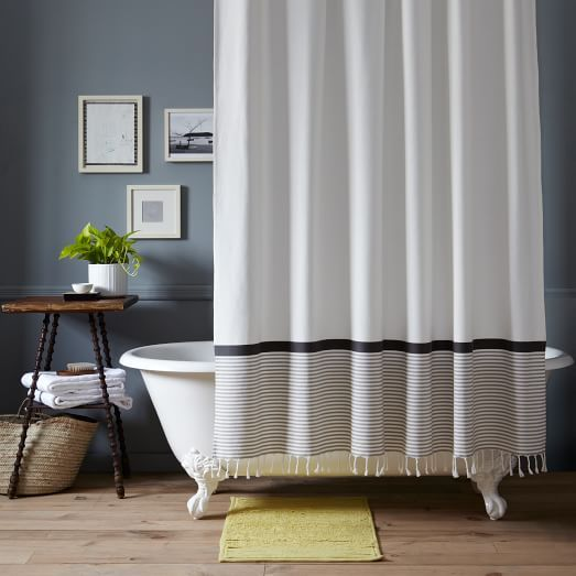 stripe border shower curtain stone