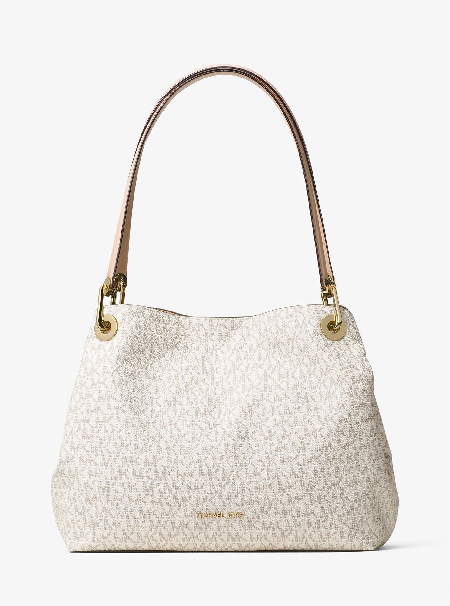 a1749c590996 Michael Kors Raven Logo Shoulder Bag - Vanilla  Handbagsmichaelkors ...