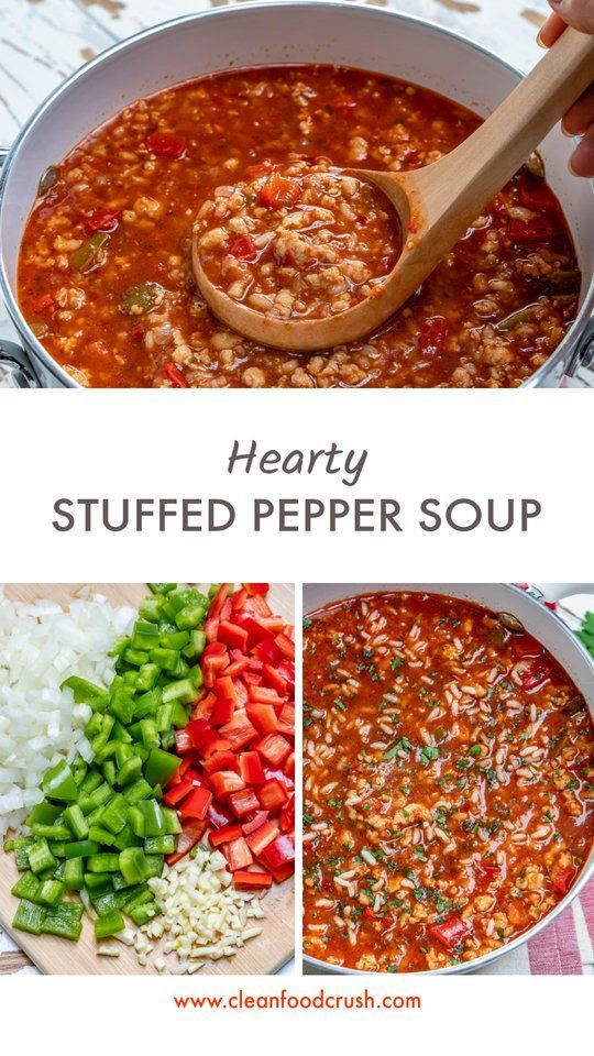 Super Quick Hearty Stuffed Bell Pepper Soup for Clean Eats! | Clean Food Crush - #bell #clean #Crush #Eats #Food #hearty #pepper #quick #Soup #stuffed #súper - #essen #cleaneating